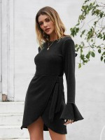 Liberty Black Hollow Out Back Knit Mini Dress Knot Weekend Time
