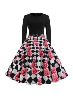 Slim Fit Long Sleeves Skater Dress Back Zipper Female Elegance