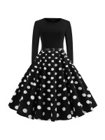 Surprising Round Neck Waist Belt Skater Dress Good Elasticity