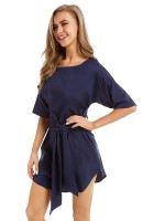 Remarkable Purplish Blue Mini Dress Crewneck Tie Curved Hem