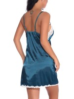 Playful Green Babydoll Open Back Sling Lace Trim Soft Fabric