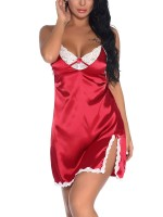 Euphoric Wine Red Side Slit Babydoll Backless Lace Private Fashion