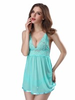 Light Green Open Back Babydoll Sling Solid Color Lightweight