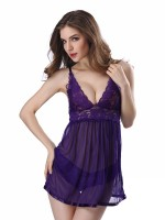 Romantic Purple Open Back Mesh Babydoll Sleeveless Dissolute Night