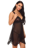 Women's Black Lace Trim Babydoll Mesh Open Back Ideal Choice