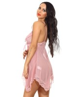 Sensuous Pink Sleeveless Irregular Babydoll Lace Trim Soft Touch