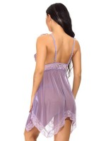 Fitted Purple Irregular Hem Deep V Collar Babydoll For Upscale