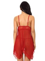 Intriguing Wine Red Backless Adjustable Straps Babydoll Hot Trendy
