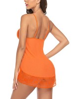 Glamorous Orange Babydoll Lace Trim High Leg Panty Wedding Night