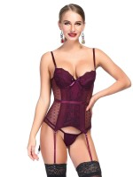 Erotic Wine Red Slender Strap Mesh Bustier With Thong Slimming