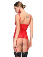 Magical Red Spaghetti Straps Lace Corset G-String Smooth Fabric