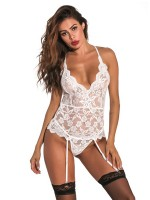 Inviting White Wave Trim Backless Bodystocking Lace Female