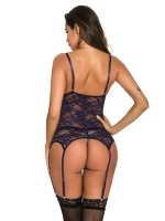 Bewitching Tibetan Blue Bodystocking Sheer Mesh Lace Straps