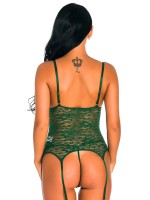 Ladies Green Bowknot Lace Garters Lingerie Set Sleepwear