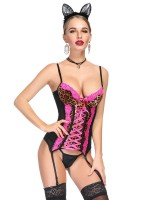 Coquettish Rose Red Leopard Patchwork Corset G-String Mesh Slim