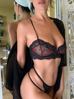 Luxury Black Lace Trim V Neck Perspective Bralette Fashion Comfort
