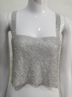 Temptation Silver Chain Back Tube Top Diamond Split Affordable