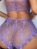 Shimmer Purple Lace High Waist Bralette Solid Color Fitted
