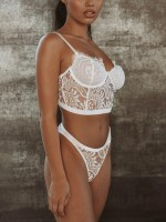 Diaphanous White 3 Back Closures Lace Mesh Bralette Evening Romance