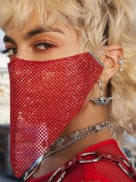 Exquisitely Red Adjustable Buckle Glitter Face Mask All Over Soft