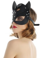 Shimmer Black Leather Cat Ears Mask Half-Face Wholesale Cheap
