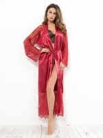 Magnificent Burgundy Lace Patchwork Nightgown Long Sleeves Romance