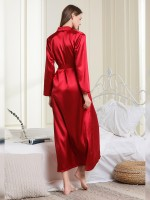 Cheeky Red V Collar Maxi Nightgown Long Sleeves Hot Trend