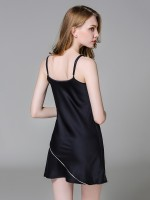 Black Ice Silk V-Collar Sling Sleepwear All Over Loose Fitting