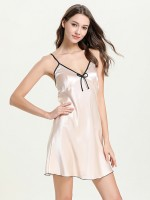 Women Pink Bow-Knot Contrast Color Sleepwear Beautiful Addition