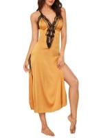 Loose Yellow Crisscross Back High Slit Lace Sleepwear For Mature Female