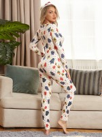 Christmas Plus Size Jumpsuit With Button Romantic Time