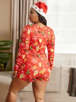Noble Christmas Front Button Sleepwear Romper High Quality