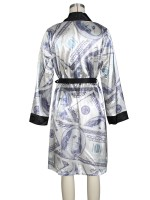 Black Money Printed Nightgowns Long Sleeves Smooth Fabric