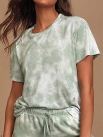 Super Short Sleeve Tie-Dyed Sleepwear Set Super Comfort Fabric