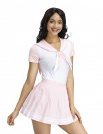 Sophisticated Pink Sailor Collar Teddy Pleated Mini Skirt Heartbreaker
