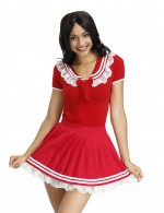 Fitness Red Bow Tie Teddy Lace Ruched Mini Skirt Intimate