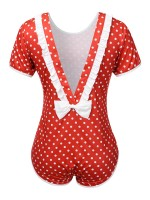 Free Cozy Red Polka Dots Open Back Bow-Knot Teddy Romance Time