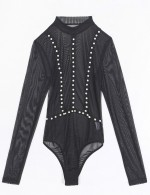 Comfortable Black Sheer Mesh Teddy High Cut Pearl Trim Intimate