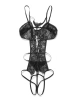 Feminine Black Hollow Out Teddy Adjustable Straps Garment