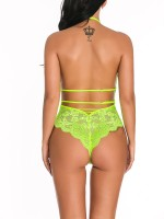 Particularly Green Backless Floral Pattern Lace Teddy Love Forever