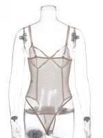 Delightful Khaki Mesh Rhinestone Adjustable Straps Teddy Slimming Figure