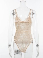 Evening Beige Lace See-Through Sling Tight Teddy Romantic Midnight