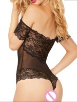 Luxurious Black Off Shoulder Teddy Hollow Out Ultra Sexy