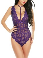 Tempting Purple Sheer Mesh Floral Print Teddy Slim Fingure