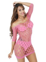 Super Sexy Pink High Streth Half Sleeve Teddy Honeymoon