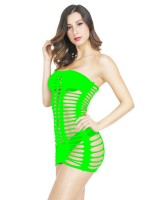 Flirting Green Solid Color Bandeau Teddy Hollow Out Midnight Honeymoon
