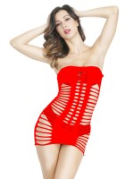 Hot Trend Red Teddy Open Back Hollow Solid Color Supper Fashion