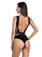 Tempting Black High Stretch Teddy Hollow Out Inexpensive Online