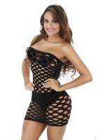 Delicate Black Bandeau Teddy Strapless Hollow Out Attractive Wear