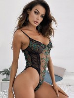 Gorgeous Green Sheer Teddy Embroidered Lace Lingerie Ultra Sexy